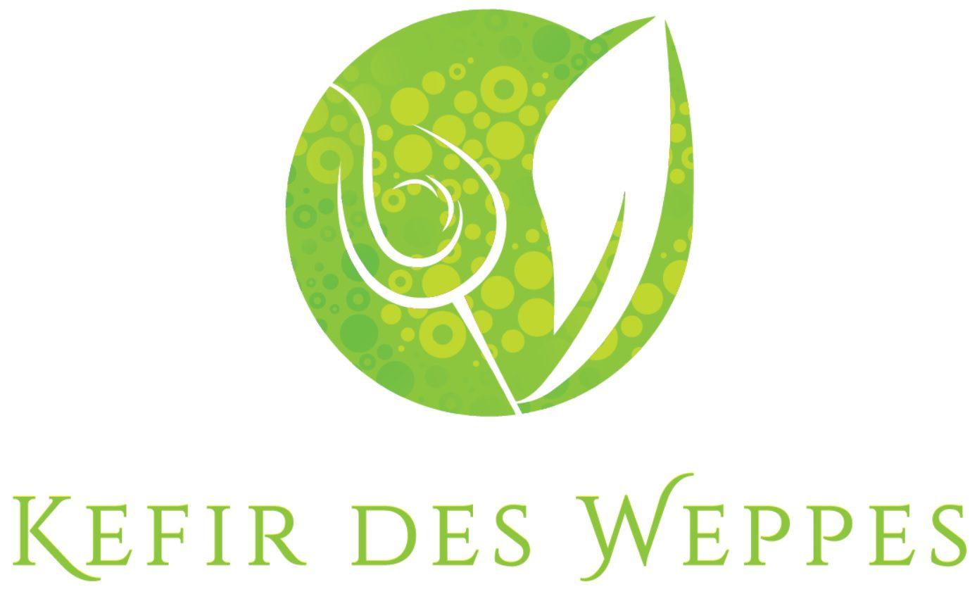 Logo kéfir des weppes - Un verre, une feuille et des bulles. Boisson naturelle pétillante aux fruits, riche en probiotiques, pauvre en sucre, locale : produite près de Lille, dans le nord (Hauts de France).